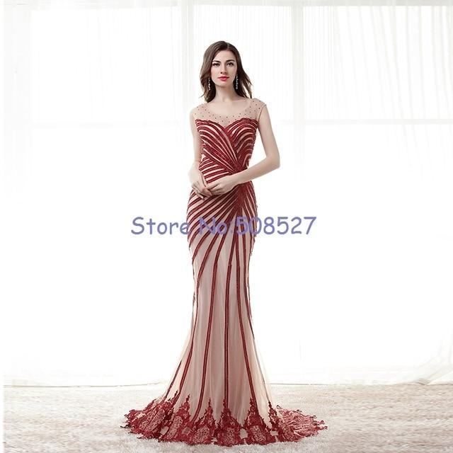 438b6fc46c Vestidos De Gala 2016 Nuevo Por Encargo del Vino Rojo Apliques Rebordear  Sirena De Encaje De