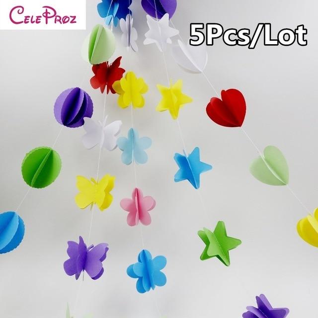 5Pcs/Lot) 3D Paper Butterfly Dot Heart Star Garlands 2M Wedding ...