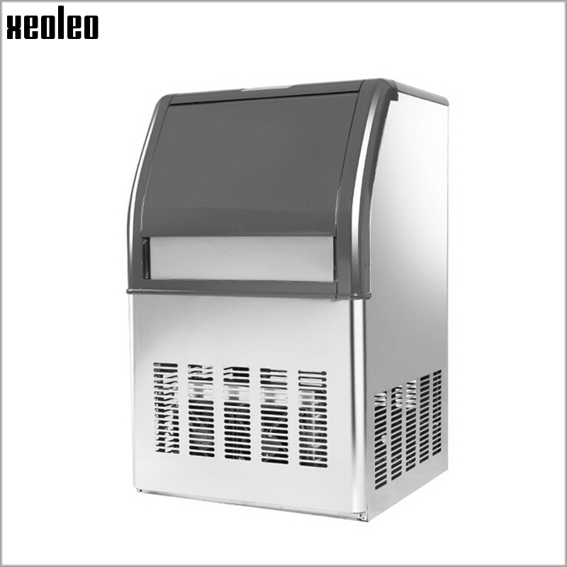 Xeoleo Commercial Ice Maker 50kg/24h Ice Machine Stainless Steel Ice Make Machine 10kg Storage For Bubble Tea/coffee/Bar