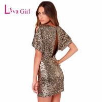 Gold Sequins Lantern Short Sleeve Elegant Party Dress 2016 Casual Summer Women XS Mini Dress Hollow