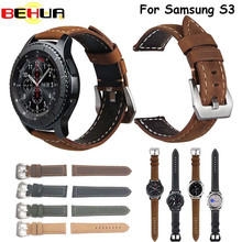 купить Retro style Leather Watch strap Band for Samsung Gear S3 Frontier Strap For Gear S3 Classic Watchbands 22mm bracelet Belt 2017 по цене 330.87 рублей