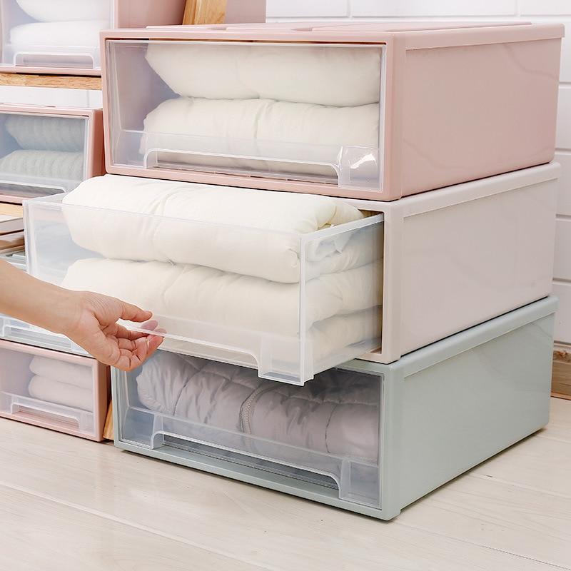High Capacity Clothes Storage Box Case Plastic Storage Box Drawer Type Underwear Bra Socks Tie Organizer Thickened Storage Box