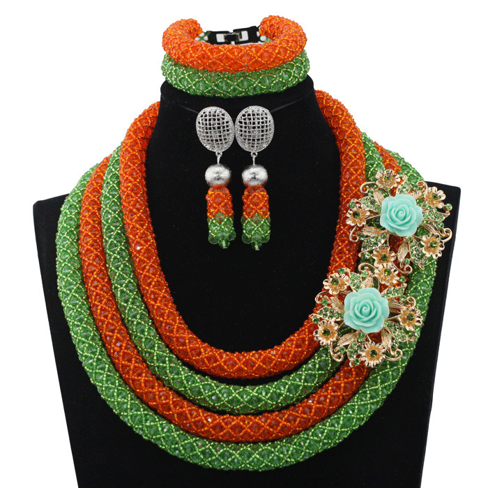 Fantastic Orange/Lime Green Nigerian Wedding Costume Bridal Jewelry Set Women Style African Fashion Bead Free Shipping HX692
