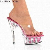 LAIJIANJINXIA New Romantic Flower Slippers Women Crystal Slippers 15Cm Ultra High Heel Platform Nightclub Queen Dance Shoes