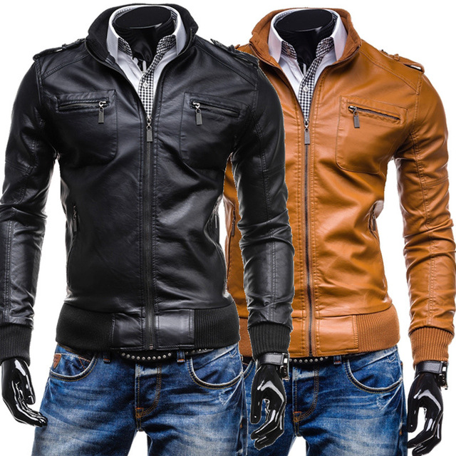 2016 Autumn Winter PU Leather Men Jacket Casual Short Stand Collar Jaqueta Men Faux Leather Coat Men's Jacket Outerwear