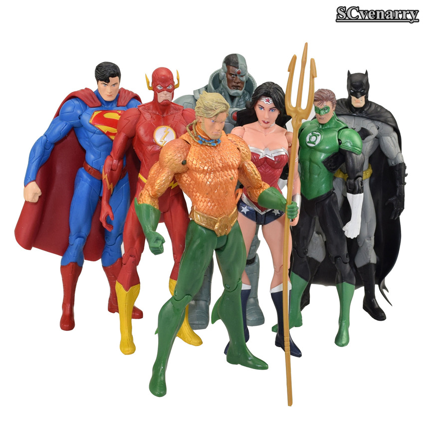 50f6920124 7pcs/set DC the Avengers Superman Batman Wonder Woman Flash Collection  Model Super Heroes Cyborg Aquaman PVC Action Figure Toy-in Action & Toy  Figures from ...