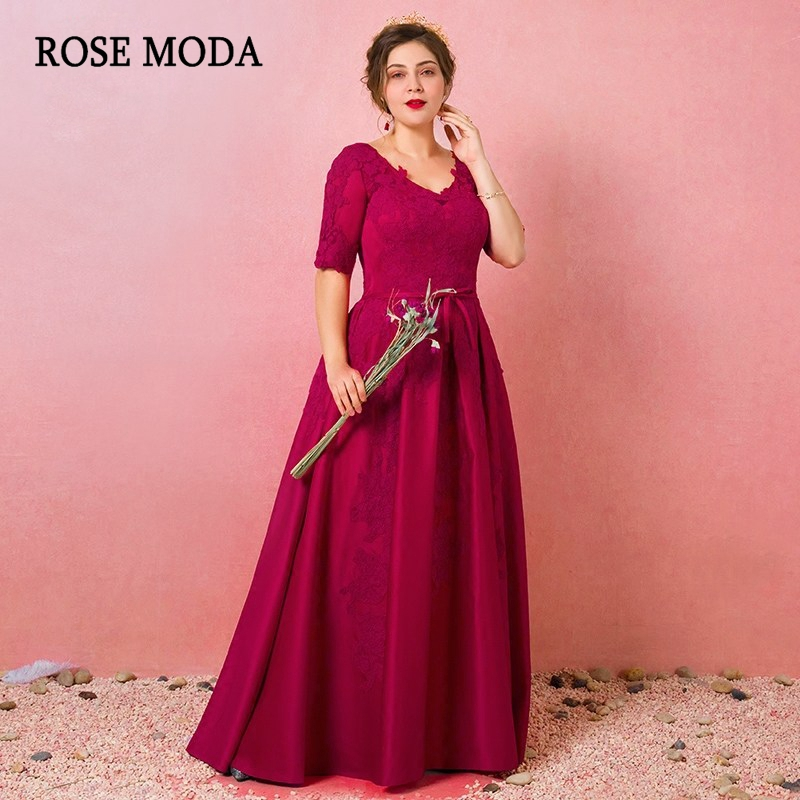Rose Moda Fuchsia Long Formal Plus Size   Evening     Dress   Floor Length Lace   Evening     Dresses   with Half Sleeves Real Photos