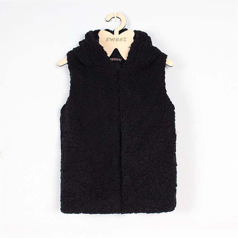 Autumn Winter Children Vest With Hat Solid Color Sleeveless Plush Warm Waistcoat Girls Outerwear Kids Jacket Clothes 8 S