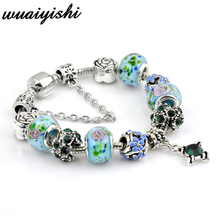 2019 summer style Authentic Silver Plated  Crown key Crystal Heart Charm Beads Pa Bracelet Women DIY Jewelry