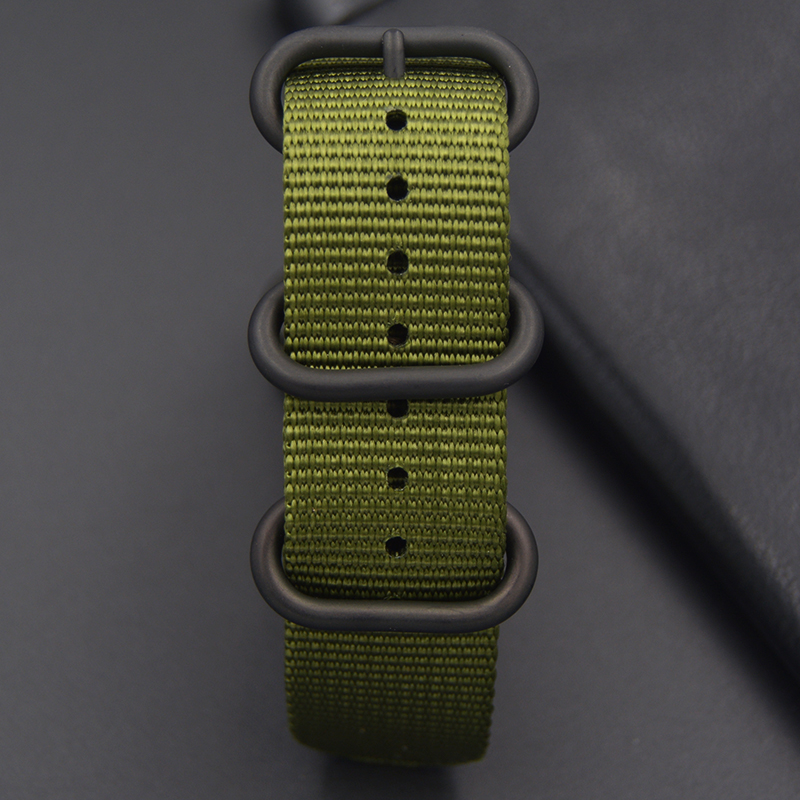 Watchband 18/20/21/22/23/24/26mm High quality the man Army Green for Nato Nylon Canvas Watch Strap Black Buckle  fast delivery