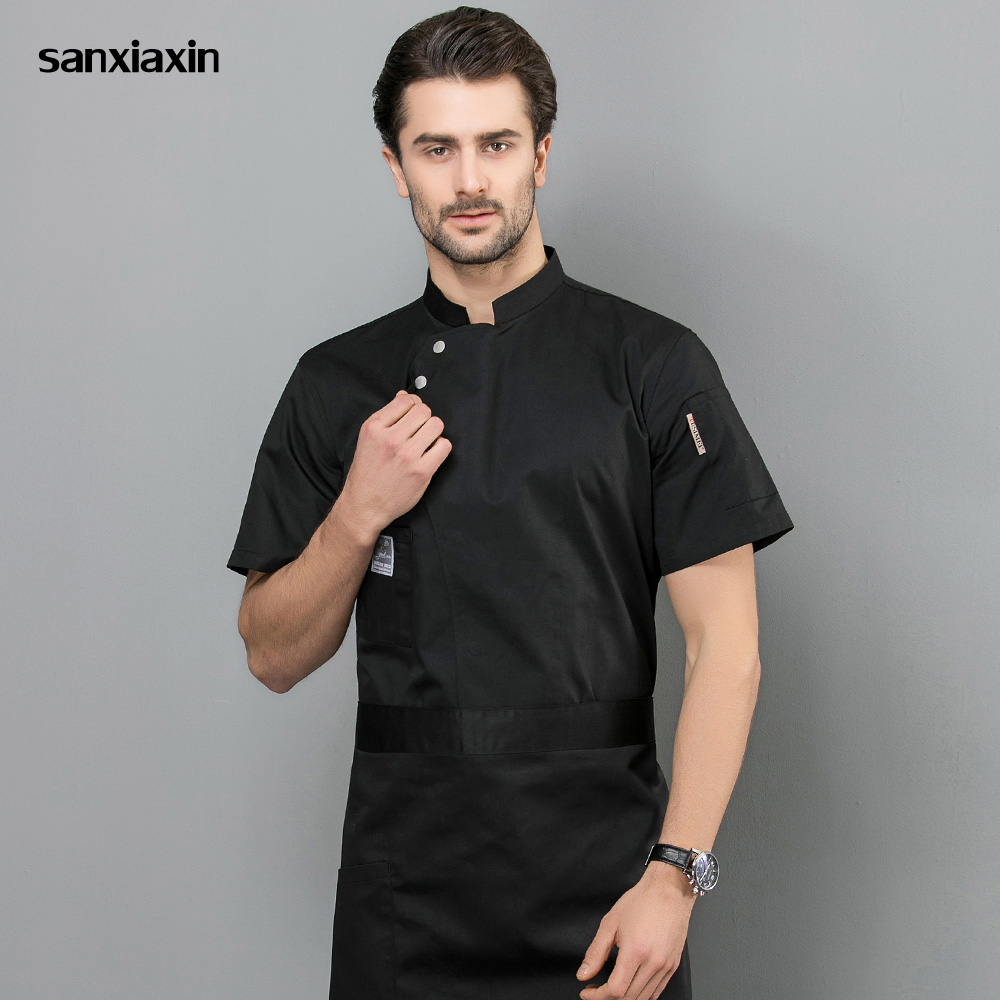 High Quality Hotel Restaurant Uniforms Shirts Short Sleeved Oblique Collar Hotel Kitchen Chef Jackets Work Clothes Men 4-colors