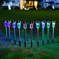 Jiaderui 10pcs Lot LED Stainless Steel Solar Lawn Light For Home Garden Decor Lighting Solar Power