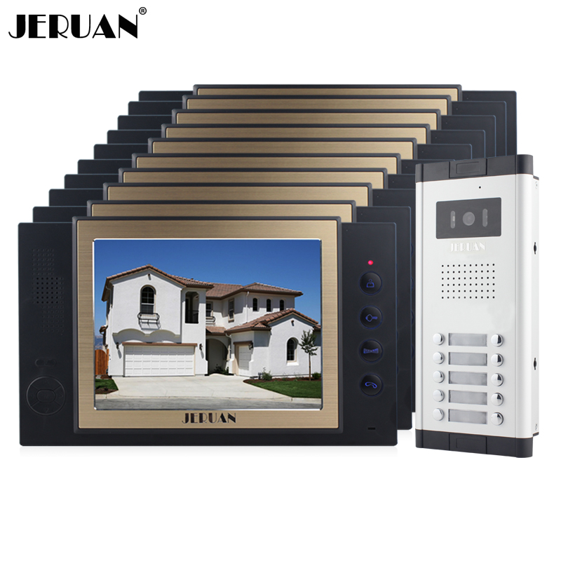 JERUAN Apartment 10 Doorbell Intercom 8`` Video Door Phone Record Intercom System HD IR COMS Camera For 10 Household 8GB SD CardJERUAN Apartment 10 Doorbell Intercom 8`` Video Door Phone Record Intercom System HD IR COMS Camera For 10 Household 8GB SD Card