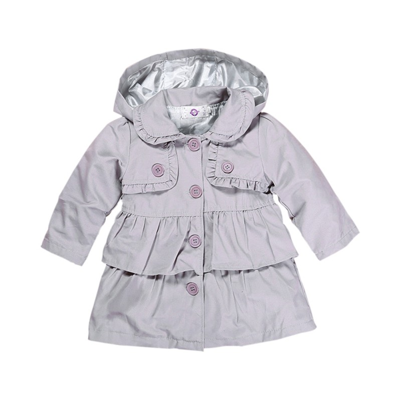 e38424a45 Autumn New Fashion Simple Baby Toddler Girls Clothes Hooded Trench ...