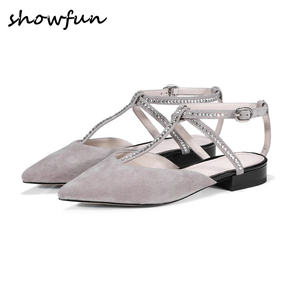 Women's genuine suede leather Rhinestone t-strap ballet flats brand designer slingback pointed toe summer comfortable shoes sale pu pointed toe flats with eyelet strap