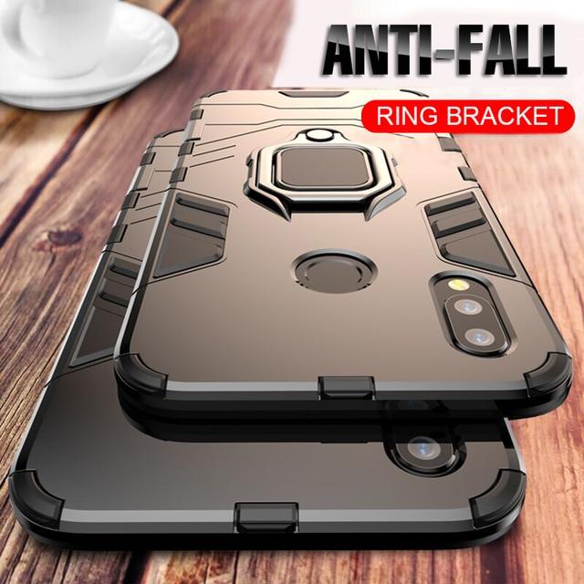 Voor Huawei P30 P20 Mate 20 Pro Lite 9 10 Nova 3 3i 4 Luxe Armor Finger Ring Case Voor P Smart Y6 Y7 Y9 2019 Telefoon Cover Case