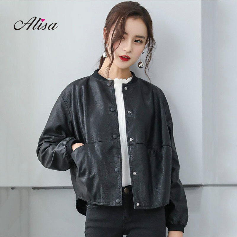 2018 Spring Autumn New Pu Coat Women Loose Casual Long Sleeved Single Breasted   Leather   Jacket Ladies Black Moto Biker Jackets