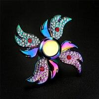 Rainbow Aluminum Metal Tri Hand Finger Spinner Fidget EDC Desk Toy Gyro High Speed Stress Reducer