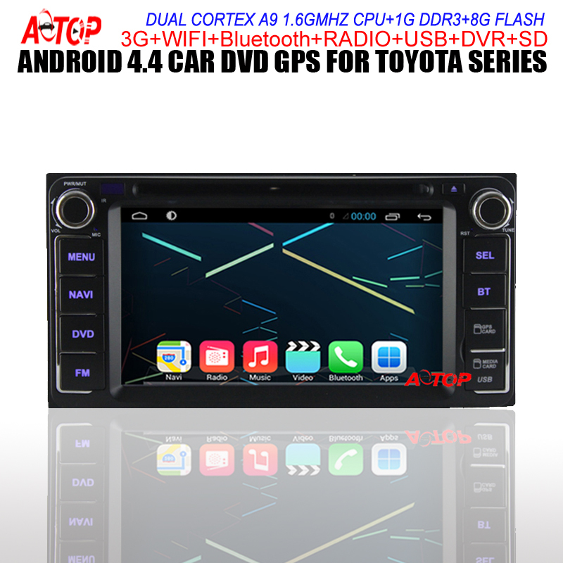 For Toyota Camry Corolla Vitz/Echo Corolla Ex Vios Hilux Terios Land Cruiser <font><b>100</b></font> Prado Car DVD GPS Android 4.4 Player Wifi Radio image
