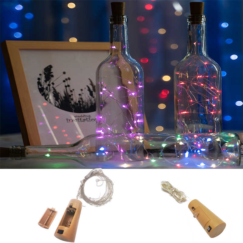 10 20 LED String Light LED ขวดไวน์ Cork Garland silver ไฟ Fairy สำหรับ Glass Craft Christmas Party ตกแต่ง