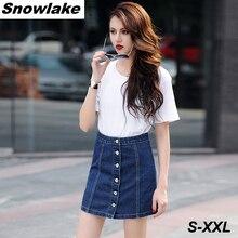 Snowlake New Summer 2017 Single Breasted A-Line High Waist Slim Denim Female Skirt