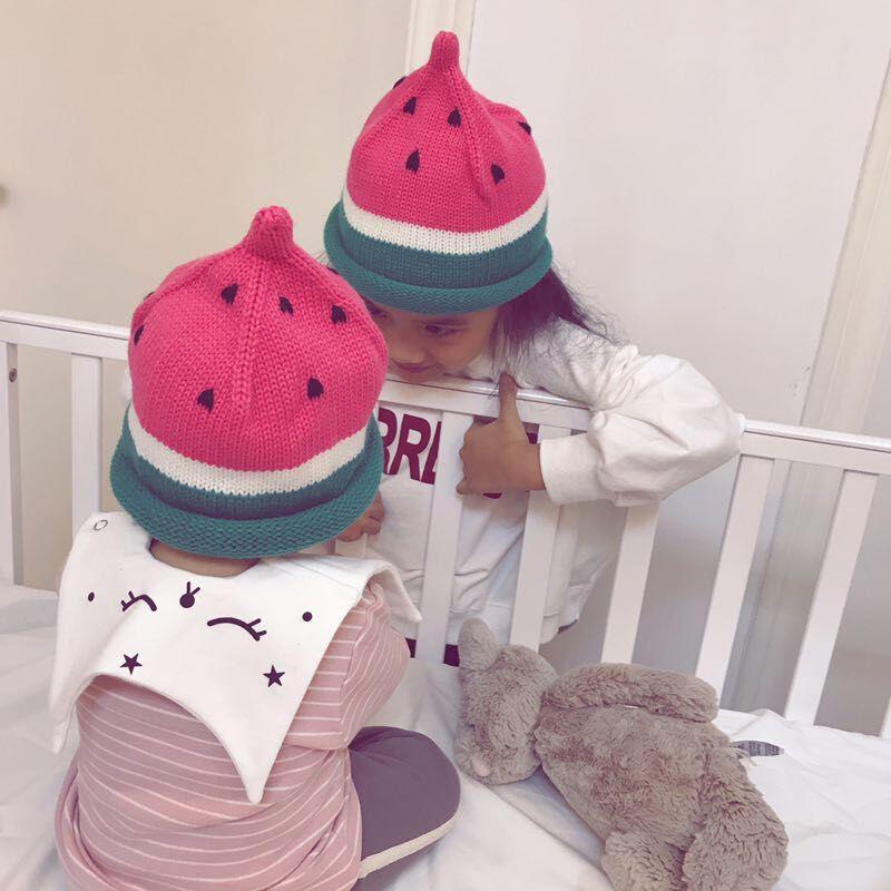 Brand Designer Adorable New Toddler Kids Girl Boy Winter Warm Crochet Knit Watermelon Striped Children Hats Beanie Cap