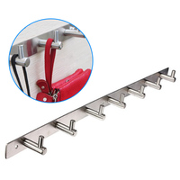 Stainless Steel Bathroom Hooks Coat Hat Clothes Robe Holder Rack Wall Hanger 7 Mount Hook BS