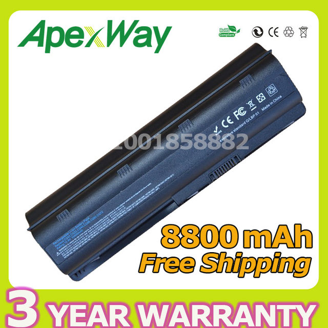 Apexway 12 celdas 8800 mah batería para hp pavilion dv5 dv6 dv7 g6 G32 G42 G56 G72 G72 MU09XL WD548AA MU06 593554-001 593550-001