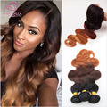 7A Peruvian Virgin Hair Body Wave With Closure Ombre Weave Bundles With Lace Closures 1B/4/27#30 Blonde Human Hair With Closure