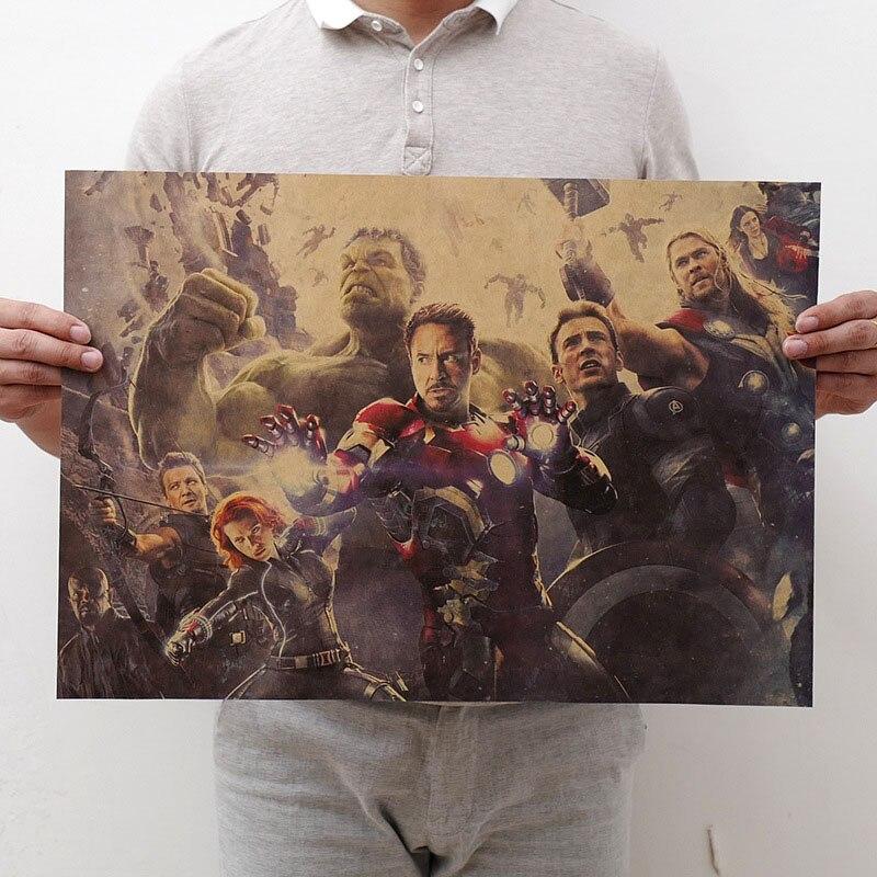 Mling 1 шт., 51,5x36 см, постер из серии Marvel, Мстители, война бесконечности, Ретро плакат, наклейки на стену для гостиной, украшение для дома - Цвет: H10