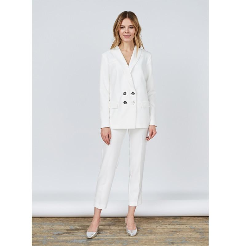 New Pants Suit White Women Business Suits Blazer Female Office Uniform Ladies Winter Formal ...