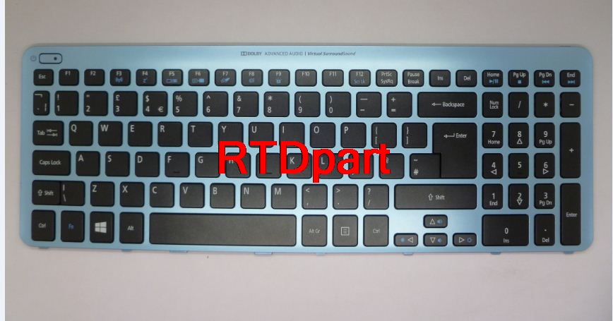 Laptop Keyboard For ACER Aspire V5-571 MS2361 UK English Blue Frame With backlight NK.I1717.07W 9Z.N8QBW.K0U NSK-R3KBW0U laptop keyboard for acer silver without frame turkish tur v 121646ck2 tr aezqsa00110