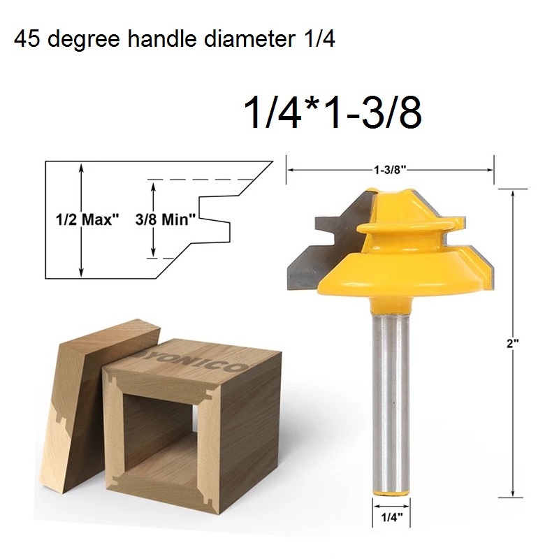 SHK:6.35mm -Woodworking Milling Cutter Tools Puzzle Wood Cutter Combination 45 Degree Tenon Cutter Knife- 1/4X1-3/8inch  цены