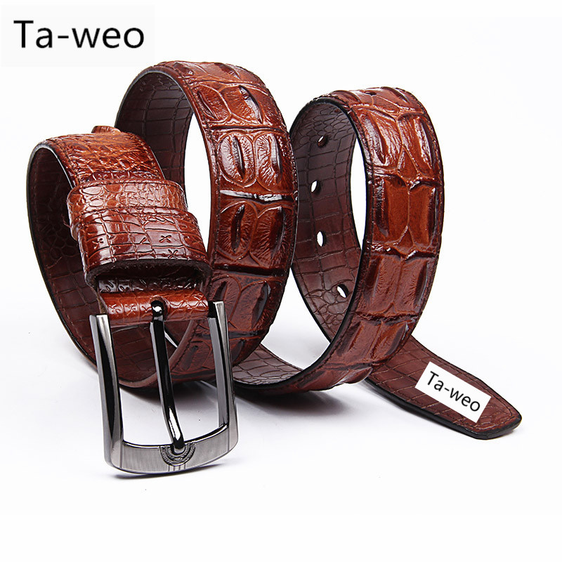 Fashion Casual Men's Genuine Leather Crocodile Striped Belts Pin Buckle Belt For Men's Jeans & Cowboy High Quality Belt