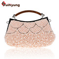 New Women's Handmade Beaded Clutch Exquisite Pearl Diamond Evening Bag Tote Wedding Party Bridal Handbag Long Chain Shoulder Bag