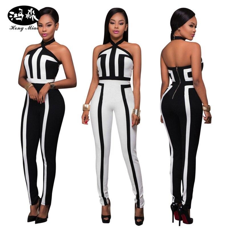 2017 hot sexy off shoulder bodysuit women jumpsuit black white patchwork striped rompers womens jumpsuit MC5254
