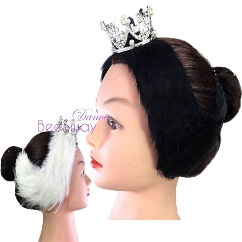 Free Shipping White Black Swan Lake Ballet Headpiece Crown Real Feather Headwear Headdress Hand Made Nutcracker Hair Headband headpiece
