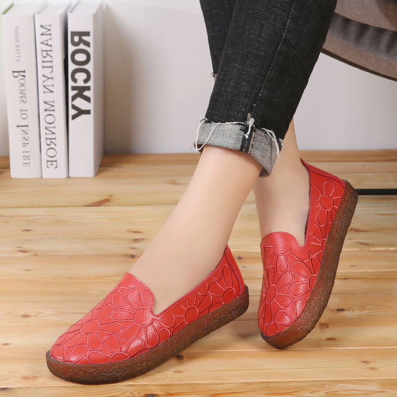 AARDIMI 2019 Floral Genuine Leather Casual Flats Shoes Woman Spring Autumn Espadrilles Women Mocassin Femme Zapatos Mujer-in Women's Flats from Shoes