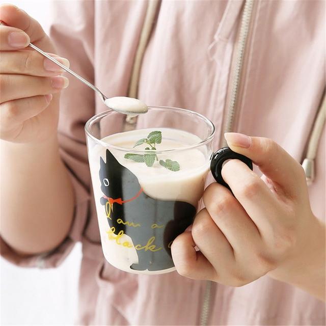 Justdolife 8.5oz Cute Creative Cat Milk Coffee Mug Water Glass Mug Cup Tea Cup Cartoon Kitty Home Office Cup For Fruit Juice 5
