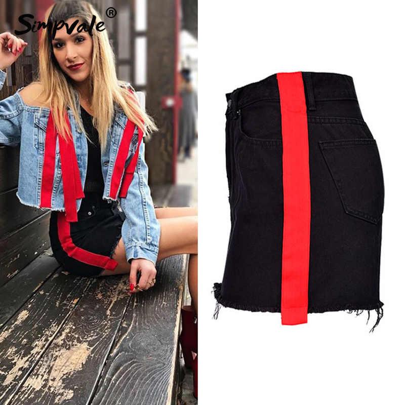 6456f127a2f SIMPVALE Women High Waist A-line Black Denim Skirt Red Stripes Tassel Mini  Skirt Lady Sexy Package Hip Jeans Skirts Short Saia