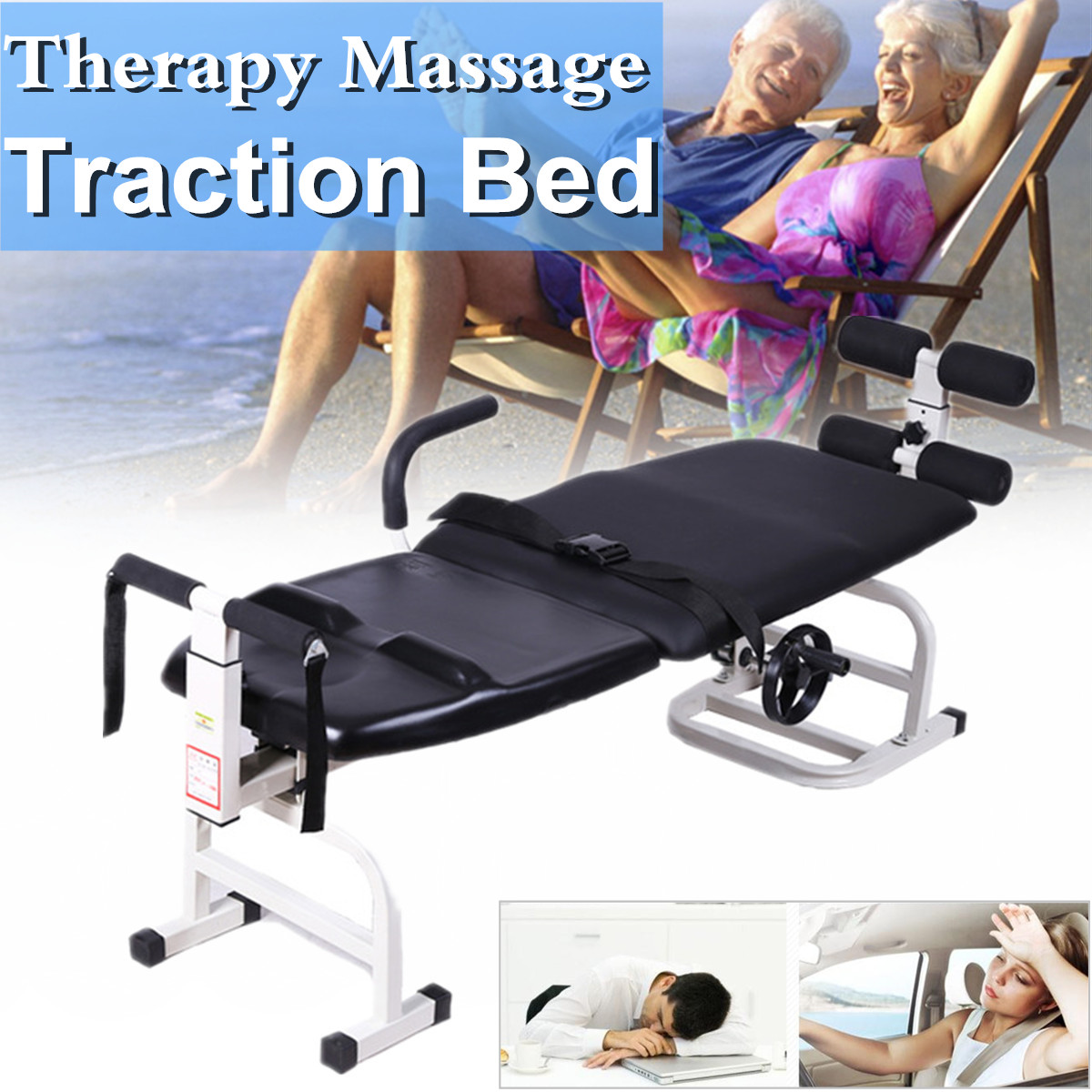 3 In1 Traction Stand-able Design Therapy Recovery Massage Bed Table Cervical Lumbar Traction Stretching Device Comfortable Black neck cervical traction device inflatable collar household equipment health care massage device nursing care