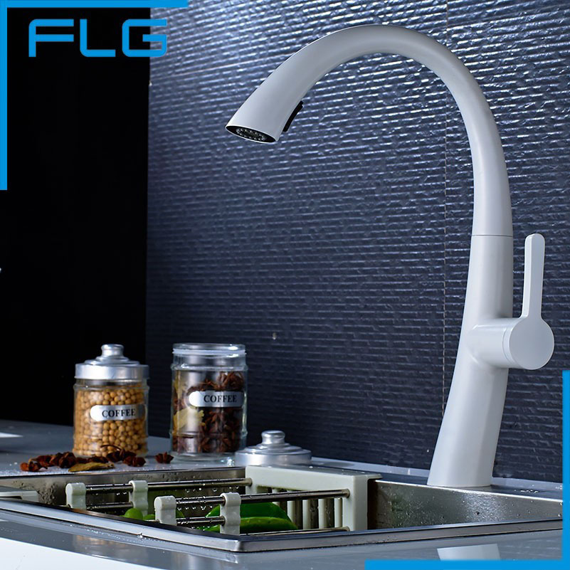 Hot Sale New Pull Out Spring Kitchen Faucet White Painting Brass Vessel Sink Mixer Tap Sprayer Swivel Spout Mixer Tap led spout swivel spout kitchen faucet vessel sink mixer tap chrome finish solid brass free shipping hot sale