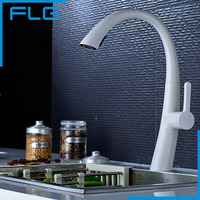 Hot Sale NEW Pull Out Spring Kitchen Faucet White Painting Brass Vessel Sink Mixer Tap Sprayer
