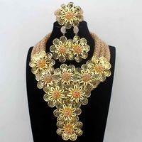 New Christmas Champagne earrings African Beads Jewelry Set Flowers Chunky Statement Necklace Set for Brides Free Ship HD8700
