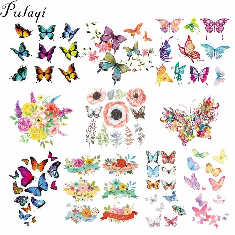 Butterfly insect boho hippie retro love peace applique iron-on patch new S-629