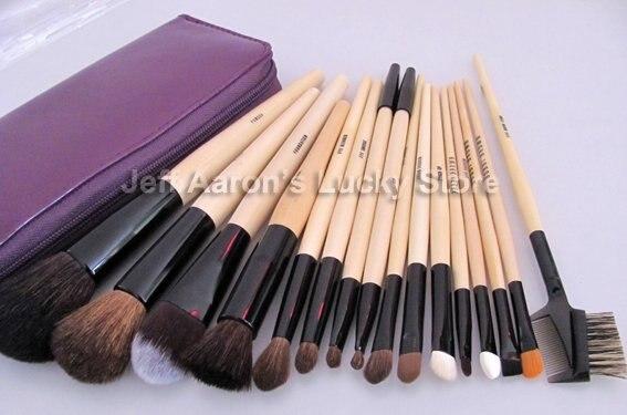Новые 16 шт Фирменные Деревянные ручка синтетических волос кисти для макияжа косметический набор кистей для макияжа инструмент с фиолетовым мешком на молнии
