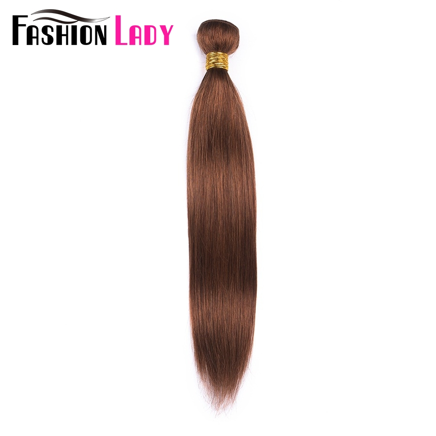 FASHION LADY Pre-Colored Indian Straight Hair Weave #30 Brown Human Hair Bundles 1/3/4 Bundle Per Pack Non-Remy Hair