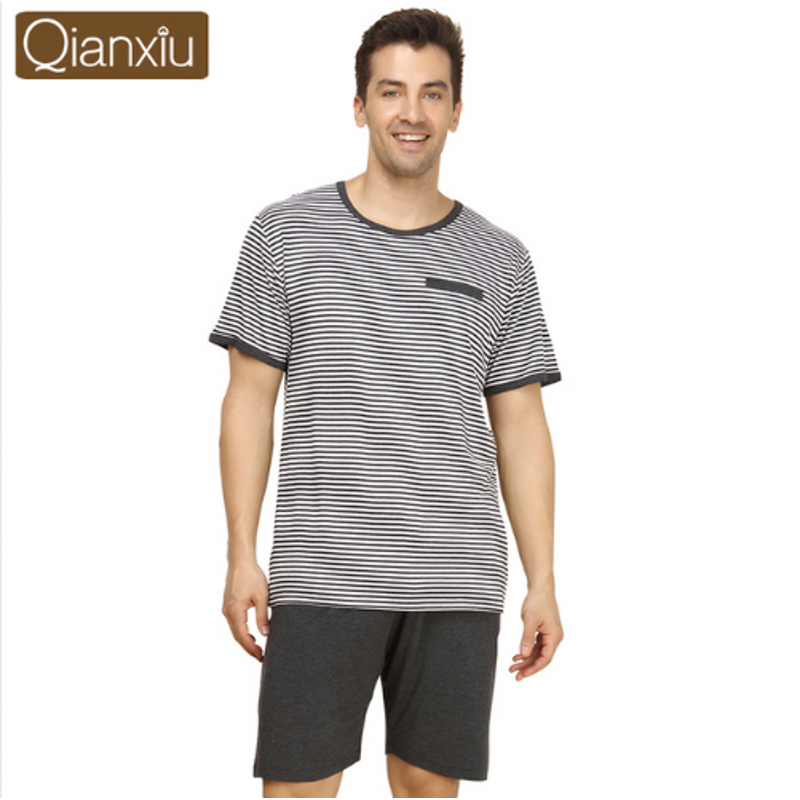 Suit Pajama-Sets Sleepwear Half-Pants Couples Male Striped Cotton Summer Casual Modal