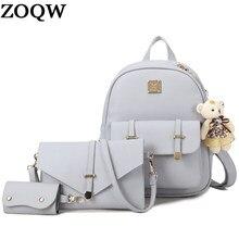 ZOQW 2018 Women Backpacks For Adolescent Girls PU Leather Backpack Female  School Bags Travel Rucksack mochila e4c598bc9b
