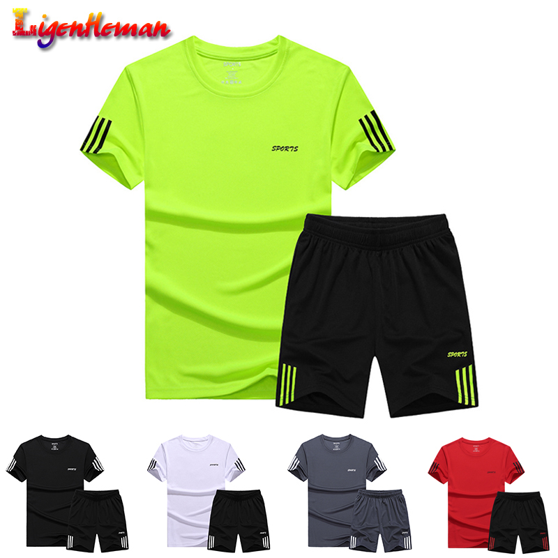 Summer Man Short Sportswear Set 2019 Men Casual Two Pieces Suit Set Short Sleeve T-shirt & Male Streetwear Shorts Sets Tracksuit